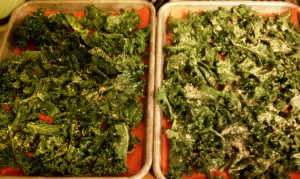 Raw Kale in Pans