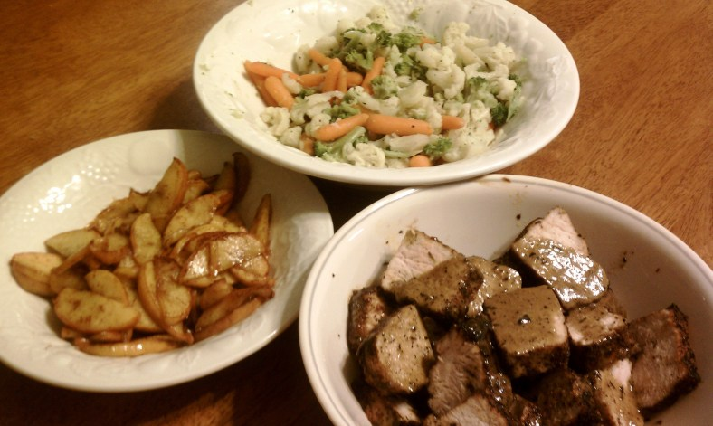 Creole Pork Loin, Pan-Fried Cinnamon Apples and Veggie Blend
