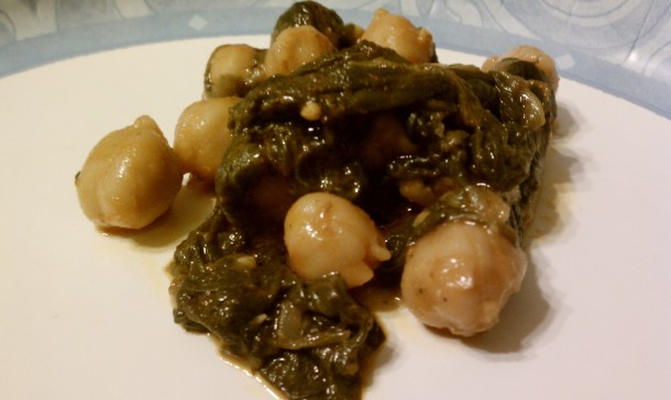 Spinach and Garbanzos on Plate