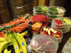 Fruits and veggies prepped for Food Day