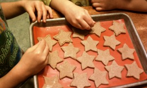 Pricking Whole Wheat Orange Shortbread Stars