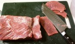 beef jerky - slicing meat