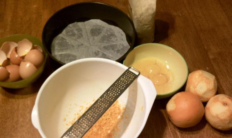 Orange Almond Cake - Preparing the ingredients