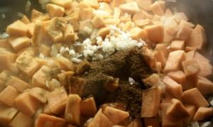 Sweet Potato Black Bean Chili - adding garlic and spices
