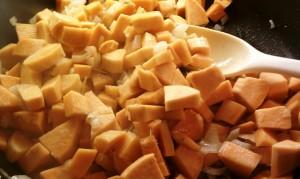 Sweet Potato Black Bean Chili - potatoes and onions